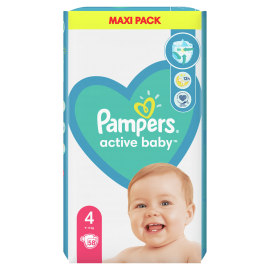 Pampers Active Baby Maxi Pack No.4 (9-14Kg) 58 Πάνες