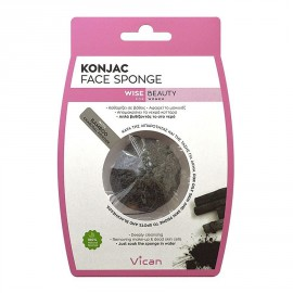 Vican Wise Beauty Konjac Face Sponge With Bamboo Charcoal Powder 1τμχ