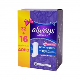 Always Σερβιετάκια Dailies Extra Protect Large/ Fresh Scent 48τμχ
