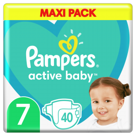Pampers Active Baby Maxi Pack No.7 (15+kg) 40 Πάνες